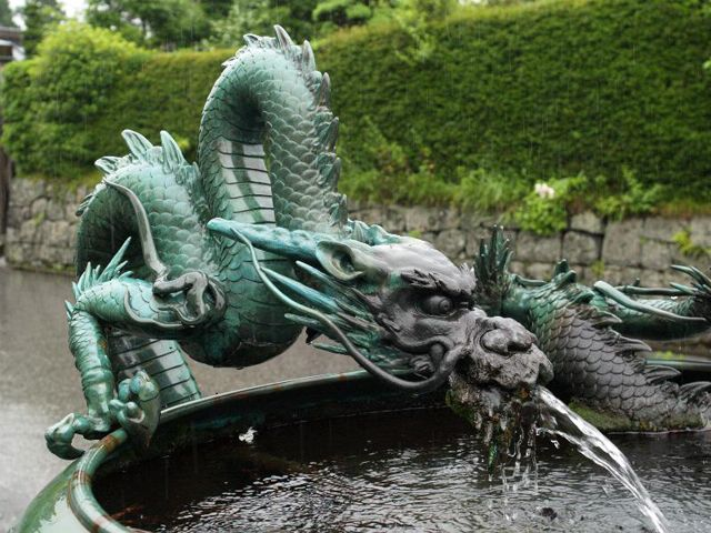 Dragon Fountain At The Rinn Ji Temple In Nikko Japan