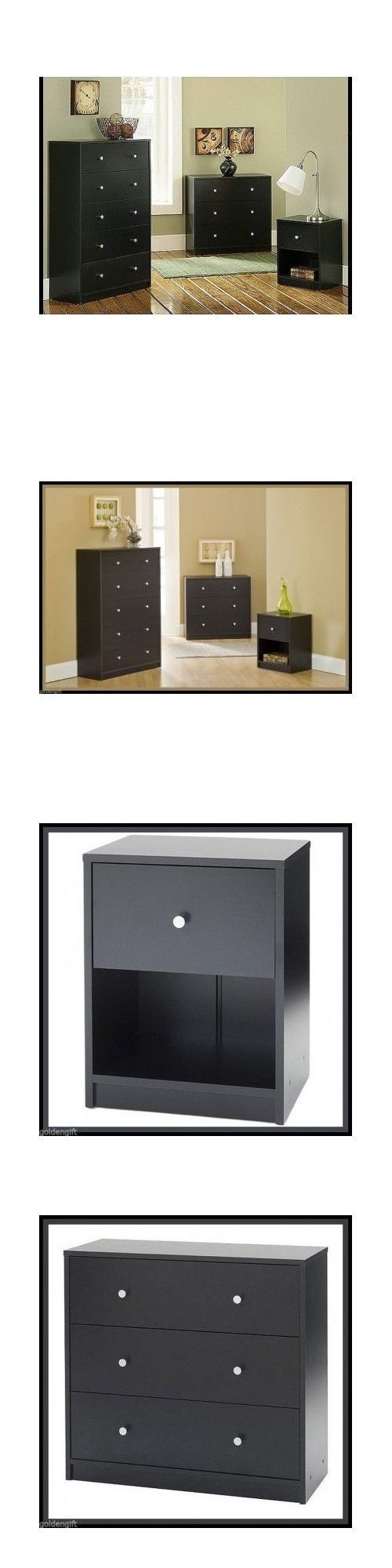 Bedding: Contemporary Bedroom Furniture Set 3 Piece Black Dresser Chest Nightstand Wooden BUY IT NOW ONLY: $239.99
