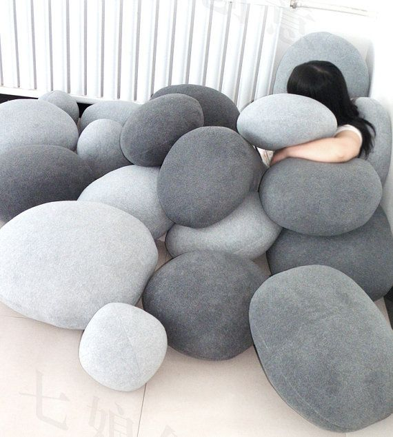 Set of 6 Pebble Stone Pillows - Beige or grey stone. Rock like bean bag cushion lounge sack