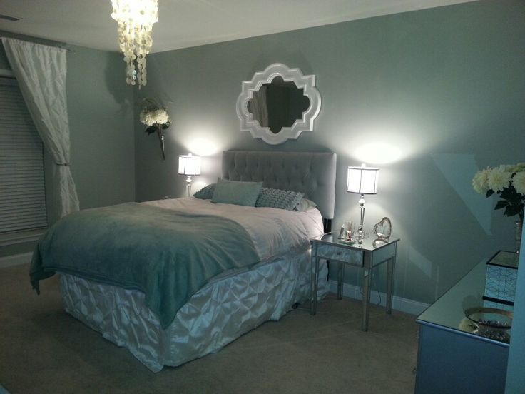 Bedroom makeover Behr rhino paint Mirrored furniture