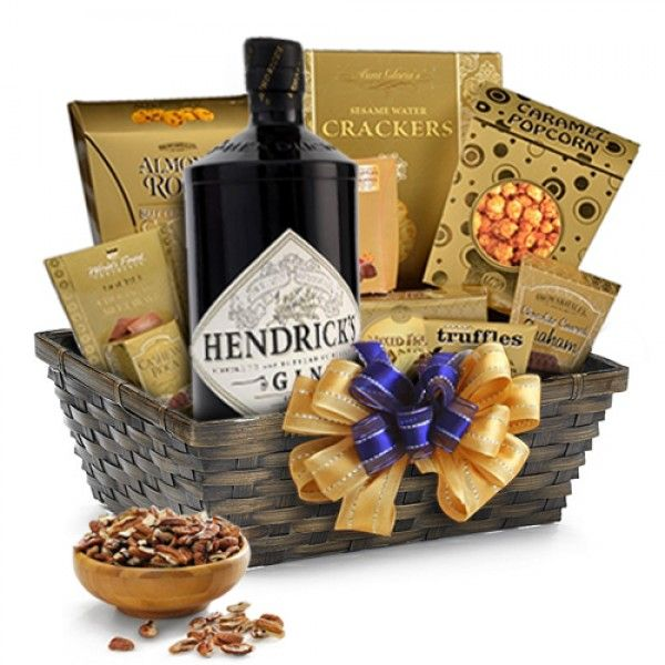 Hendricks Gin Gift Basket-Delight the gin lover in your life with a beautifully designed gift basket of Hendrick's gin.| spiritedgifts.com