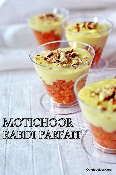 MOTICHOOR RABDI PARFAIT - An amazing parfait layered with crushed motichoor laddus at the bottom, topped with creamy homemade rabdi and garnished with almond-pistachio slivers andf few saffron strands.