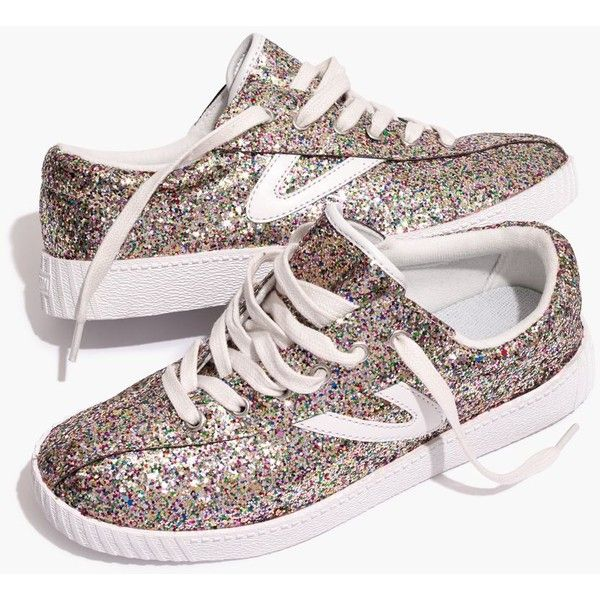 Madewell x Tretorn® Nylite Plus Sneakers in Glitter ($85) ❤ liked on Polyvore featuring shoes, sneakers, multi glitter, tennis sneakers, glitter trainers, tennis shoes, madewell sneakers and retro style shoes
