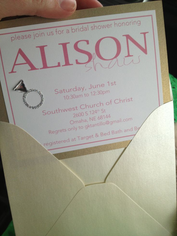 wedding shower invitations omaha%0A Bridal shower invitation pink and gold