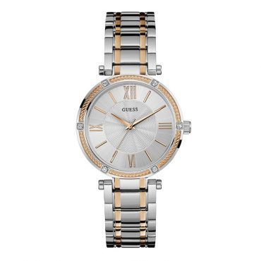 W0636L1 Γυναικείο ρολόι GUESS με ασημί καντράν, ζιργκόν κρύσταλλα στη στεφάνη και λεπτομέρειες από ροζ χρυσό στο μπρασελέ | Ρολόγια Τσαλδάρης στο Χαλάνδρι #Guess #ασημι #μπρασελε #ρολοι