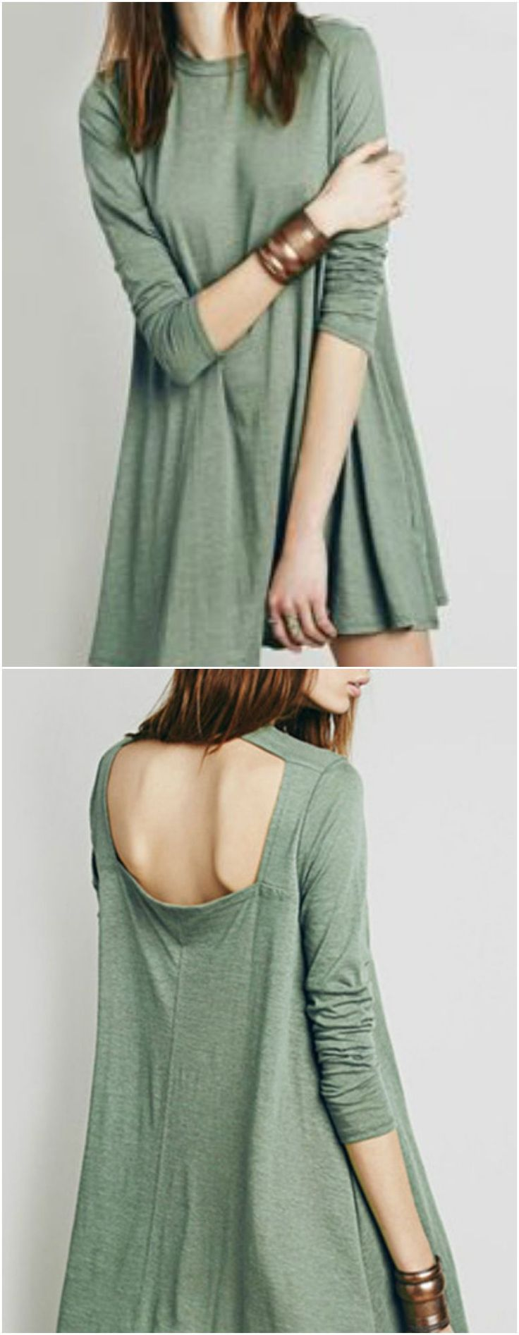 Open back green dress