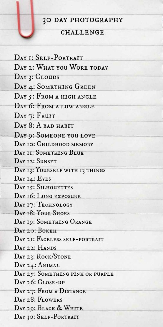 Ive created a 30 day photography challenge (inspired by pinterest) and am running it on my facebook with my networks joining in - will pin them here as well :-)