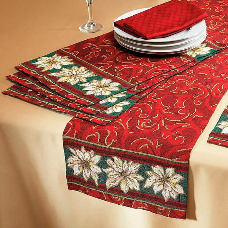 Poinsettia Tapestry Table Runner And Placemats