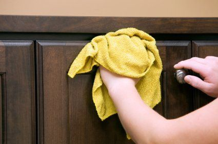 This page contains recipes for homemade kitchen cabinet degreaser.  Kitchen cupboards, especially those above the stove, often get a greasy buildup that can be difficult to remove.  Commercial degreasers can be expensive and may damage the finish on your wood cabinets.