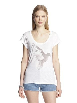 79% OFF MiH Jeans Women's The Scoop Neck Tee (White Sheer Slub)