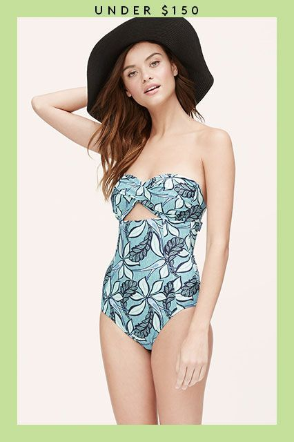 Summer's Not Over Yet — 21 Sweet Swimsuits On Sale Now #refinery29  http://www.refinery29.com/2015/08/91653/swimsuits-on-sale#slide-8  Channel old glamour with a retro floral pattern and a flirty cutout-bust detail. ...