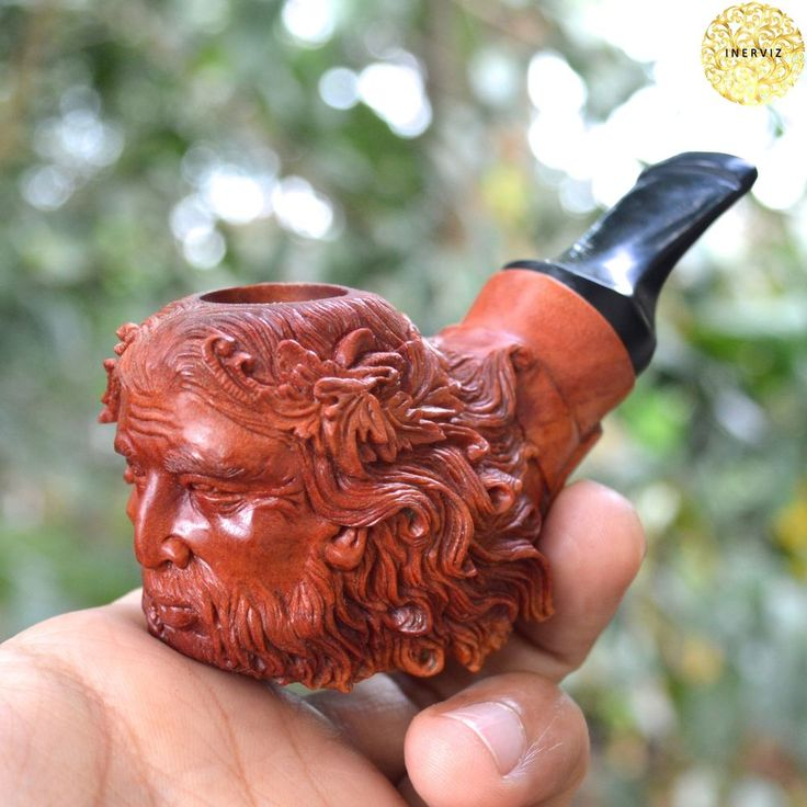 Hand Carved Wooden Tobacco Pipes Zeus Greenman old man Carving Ebonit Stem #9