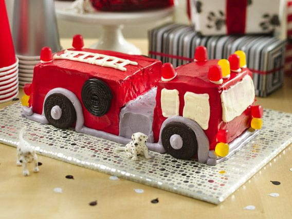 Fire Engine Cake http://www.bettycrocker.com/videos/videolibrary/birthday-cakes/fire-engine-cake