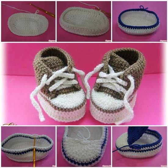 Cómo hacer lindo bebé del ganchillo de las zapatillas de deporte
