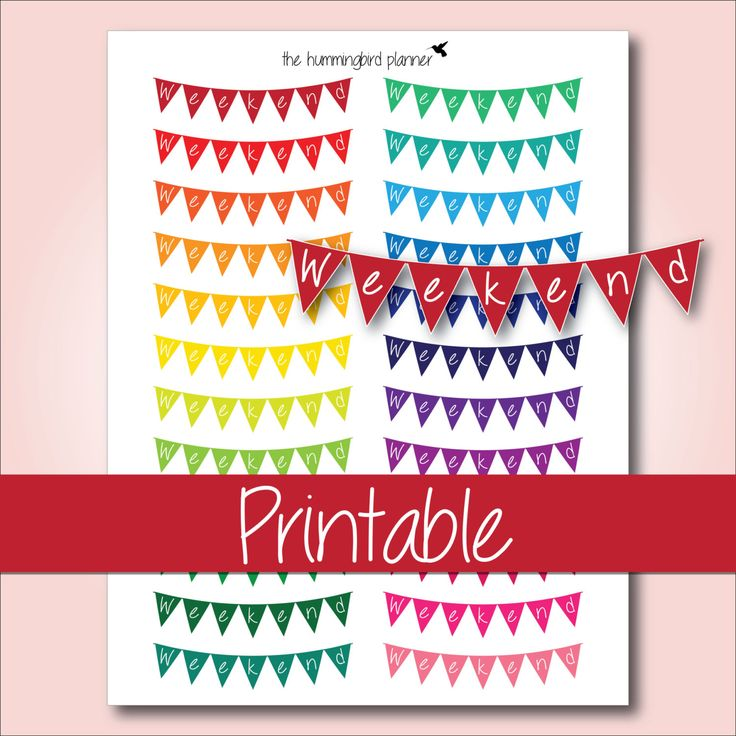 Bright Rainbow Curved Bunting Weekend Banners | Printable Planner Stickers for Erin Condren Planners - Instant Download
