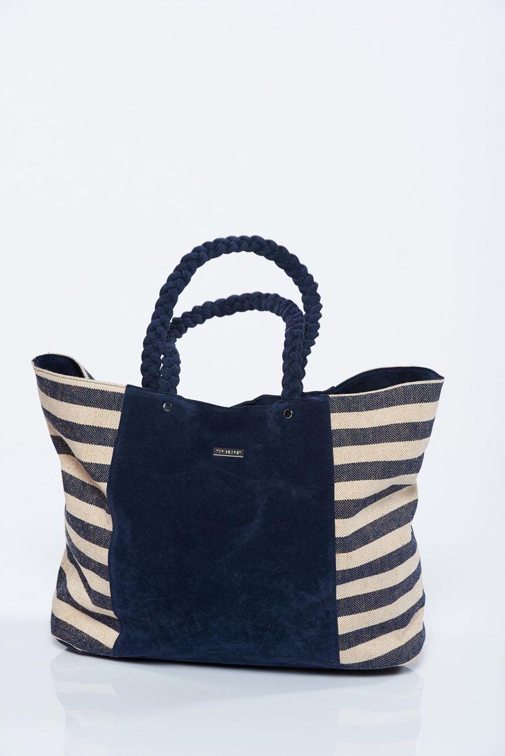 Comanda online, Geanta dama de plaja Top Secret neagra cu dungi orizontale. Articole masurate, calitate garantata!