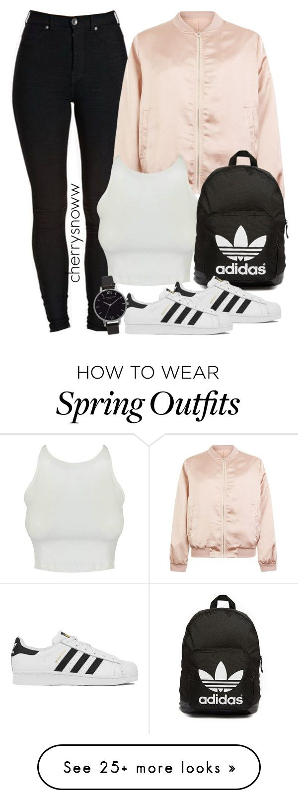 """Cute sporty swag spring outfit"" by cherrysnoww on Polyvore featuring Cameo Rose, adidas Originals, adidas and Olivia Burton"