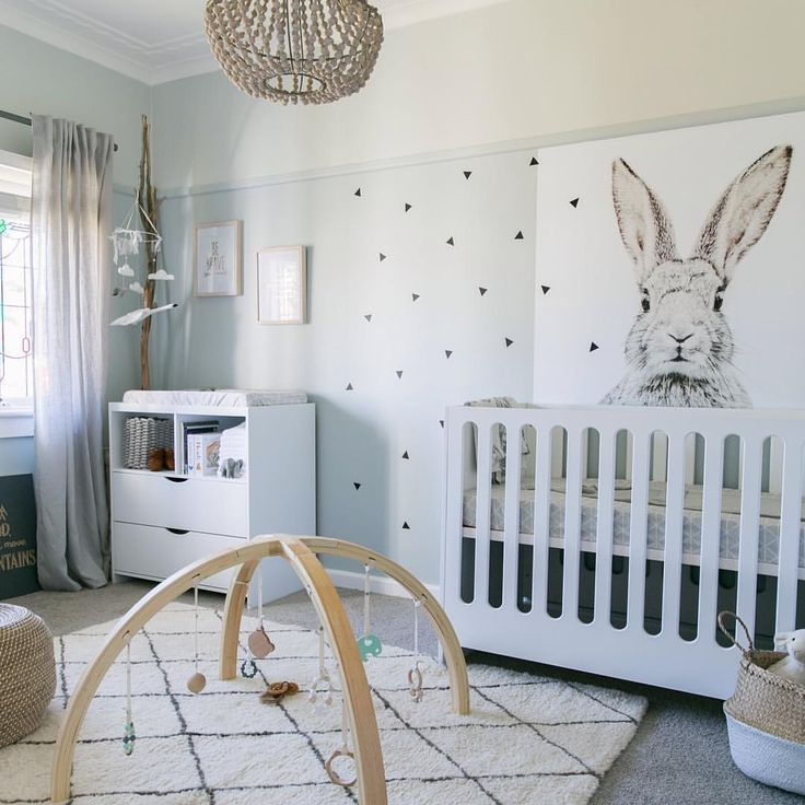 """little peanut mag on Instagram: """"This darling gender neutral nursery by @littledwellings is anything but boring! Breaking the molds of neutral with these moody blues + grays, we couldn't love it more. #nurserydecor #genderneutral"""""""