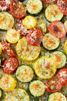 Roasted Garlic-Parmesan Zucchini, Squash and Tomatoes - the perfect use for all those summer veggies!! So delicious!!