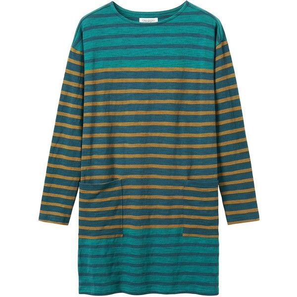 Toast Slub Stripe Tunic, Teal/Gold ($130) ❤ liked on Polyvore featuring tops, tunics, smocked top, long sleeve tops, gold top, stripe top and teal tunic