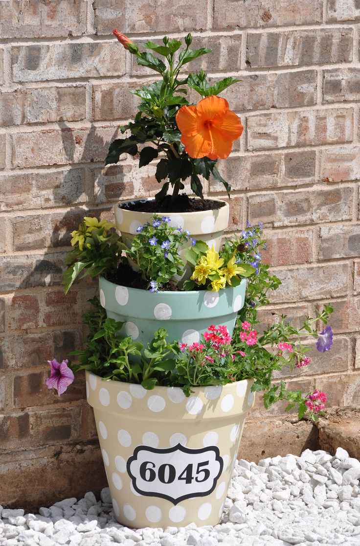 A Flower Pot Tower with Polka Dots