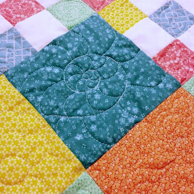 Free Motion Quilting Patterns Pinterest : Free motion quilting on Patchwork Baby Quilt from http://www.homesewnbycarolyn.com Baby Quilts ...