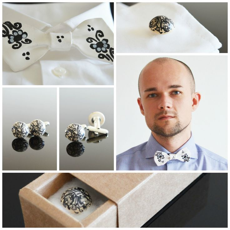 Just look at that bow tie! It's made of 100% ceramic. Very unique and quirky, goes great with ceramic black flower cuff links. Perfect for formal and informal occasions.