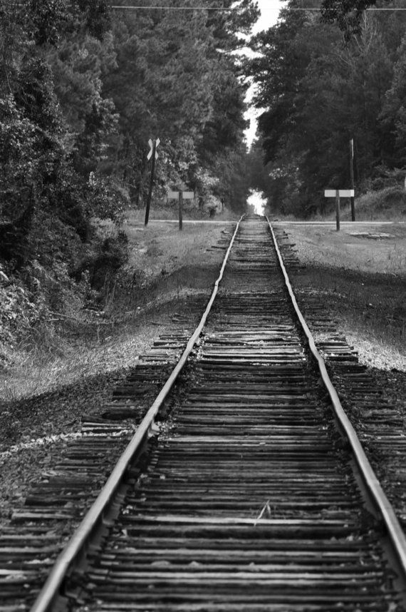 Old Railroad Tracks in Black and White by photosbytyler on Etsy