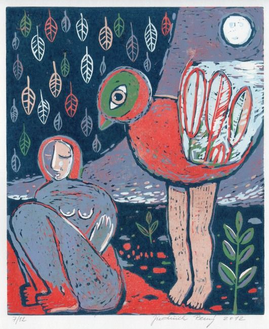 Woman and a bird, 2012, linocut, 30 x 25 cm by Jindřich Pevný
