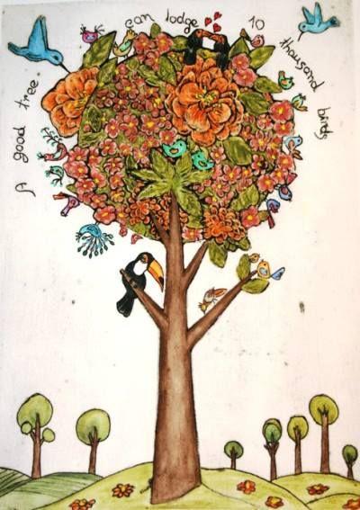 Lygia Dantas - Perth Artist Passaredo  Limited Edition Print Original Collagraph & Watercolour