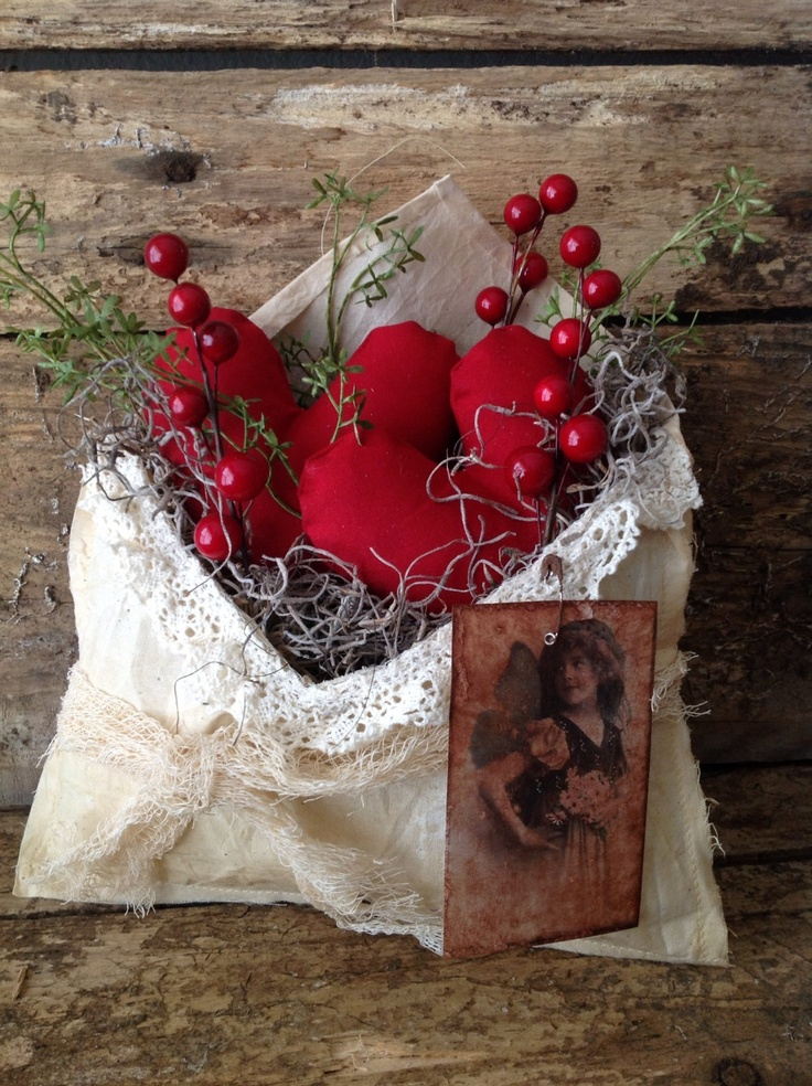 Primitive Valentines Love Letters Heart Envelope.