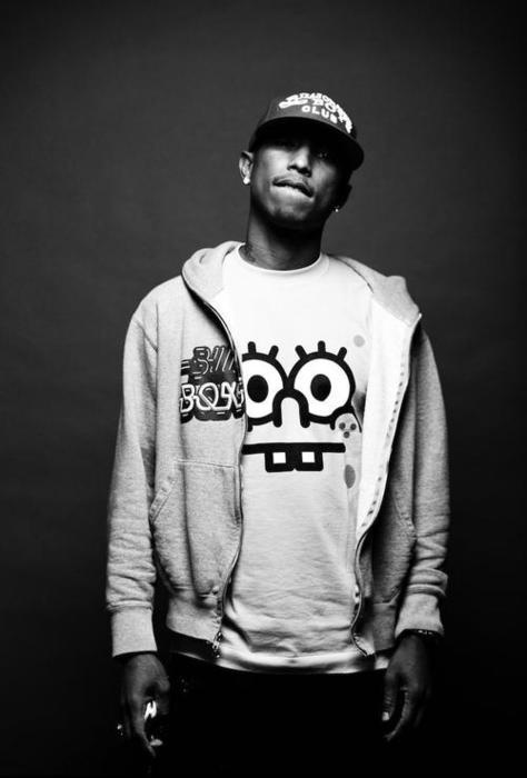 """Pharrell Williams...his style, and he is a creative genius influencing the world with his music & vision, his love for spongebob. """"Happy""""..awh c'mon now! :)"""