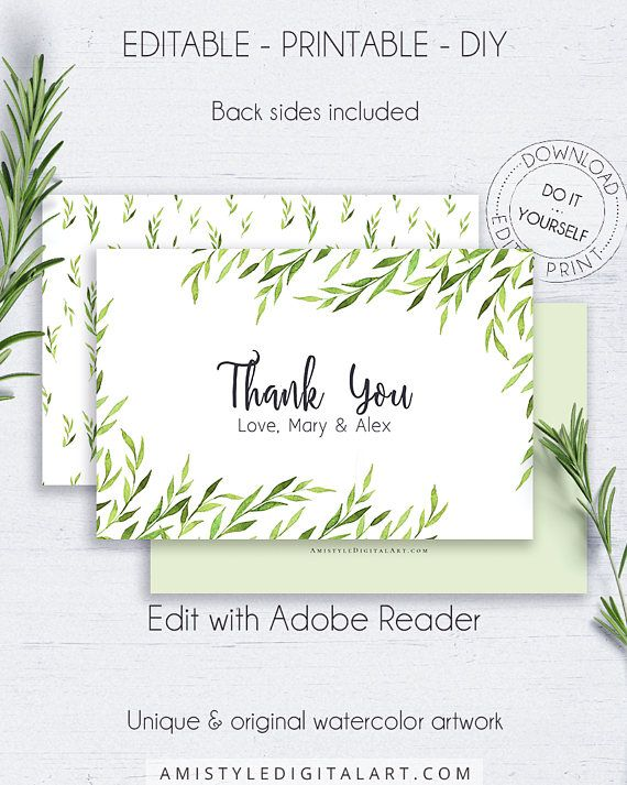 Greenery Wedding Thank You Card - with clear and elegant watercolor natural design.This botanical wedding card is for an instant download EDITABLE PDF so you can download it right away, DIY edit and print it at home or at your local copy shop by Amistyle Digital Art on Etsy