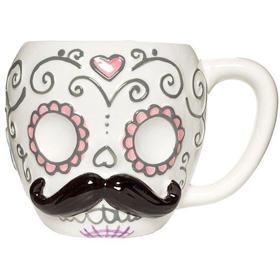 """""""Sugar Skull Moustache"""" Mug #InkedShop #mug #mustache #sugarskull #homegoods #cup"""
