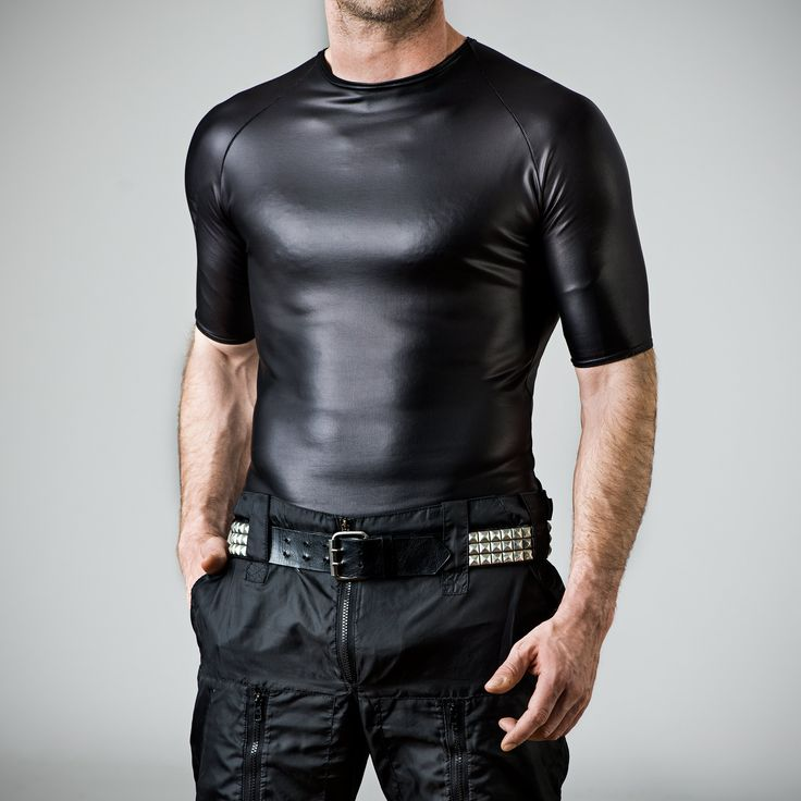 skintight male t-shirt matte leather look spandex black | male ...