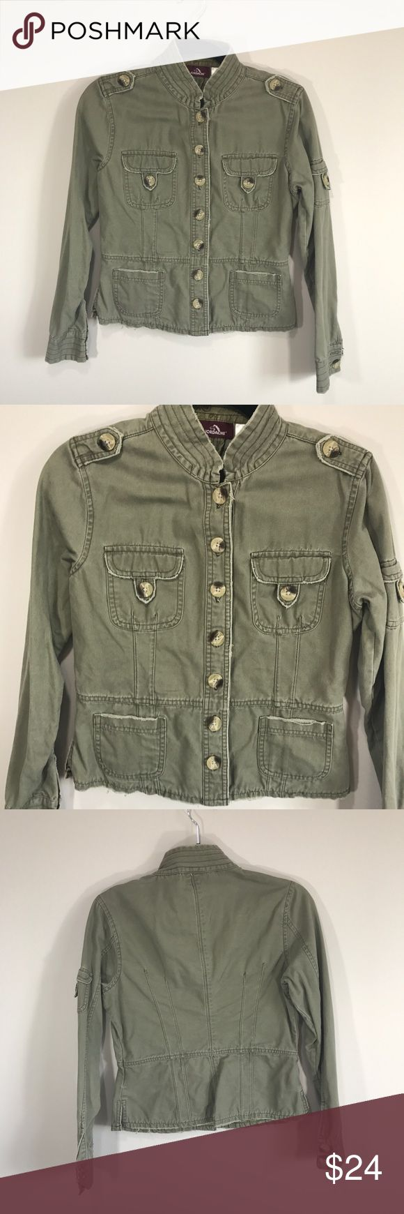 """Vintage 90s Army Green Military Style Jacket In excellent vintage condition. No size tags. Approximately size XS. Please refer to measurements to ensure a proper fit! Pit to pit: 16"""" Length: 20 Arm Length: 22"""" jordache Jackets & Coats Utility Jackets"""