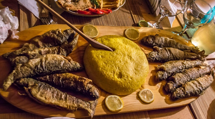 A nice 'peasant dish', fried #trout served with hot #polenta