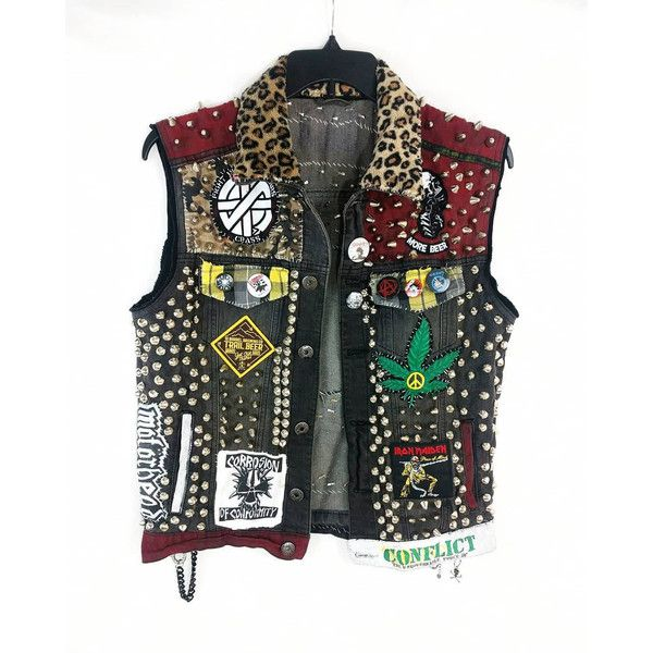 Punk Rock Vest, Denim Punk Vest, Crust Punk Vest, Punk Rock Jacket,... ($560) ❤ liked on Polyvore featuring outerwear, vests, jackets, tops, studded jean jacket, sleeveless vest, sleeveless denim vest, pocket vest and studded denim jackets