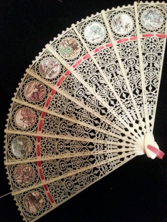 Antique Hand Held Fan  Celluloid 19001920s by CrazyAboutCollecting, $30.00