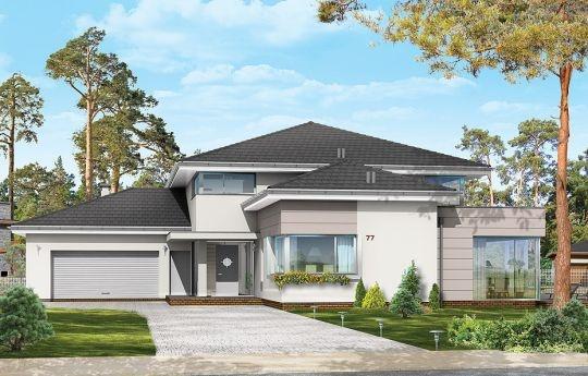 Projekt Prestiżowy to jeden z największych i najbardziej komfortowych w ofercie pracowni. Zaplanowany jako nowoczesna, piętrowa willa, o rozczłonkowanej, rozbudowanej bryle. Dom przewidziano dla dużej, 4-7 osobowej rodziny. Zewnętrzna bryła to połączenie piętrowego rdzenia domu, z dobudowanymi parterowymi skrzydłami, oraz oranżerią i zadaszonym tarasem od strony ogrodu.