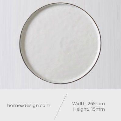 Ceramic art black and white XL plate (5pcs)