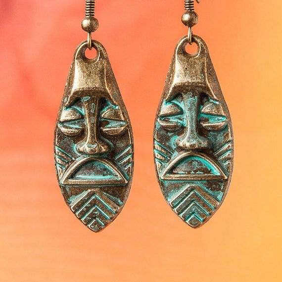 Tribal Earrings, African Earrings, Ethnic Earrings, Drop Patina Earrings, Mayan jewelry
