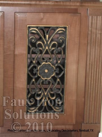 Faux Iron Cabinet Door Insert Decorating Ideas