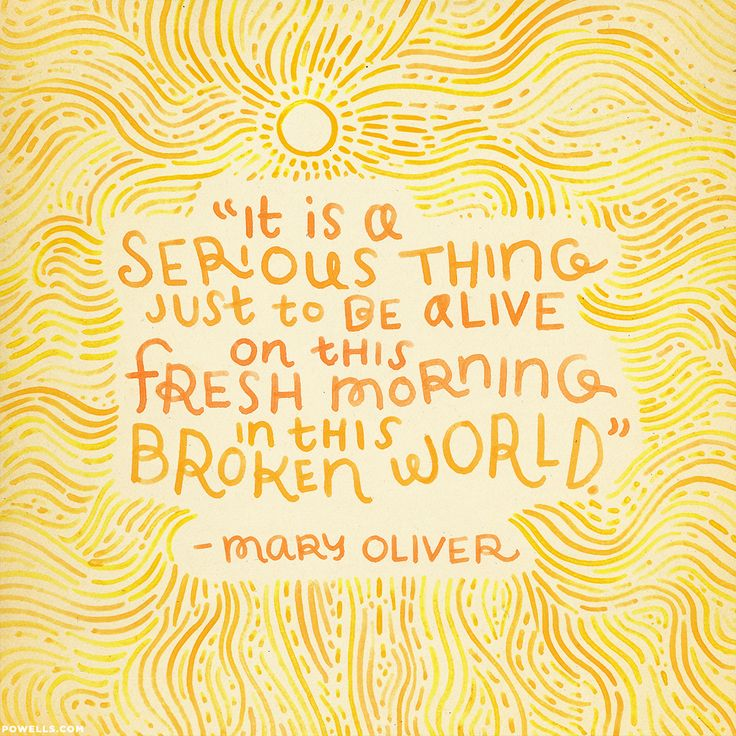 """Mary Oliver: """"It is a serious thing just to be alive on this fresh morning in this broken world."""""""