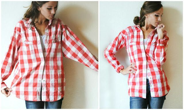 I really liked this vintage gingham shirt, but it was so big I was swimming in it. Try this simple DIY...