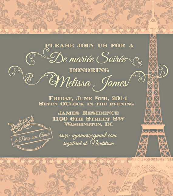 17 best images about paris theme invitations on pinterest for Paris themed invitations bridal shower