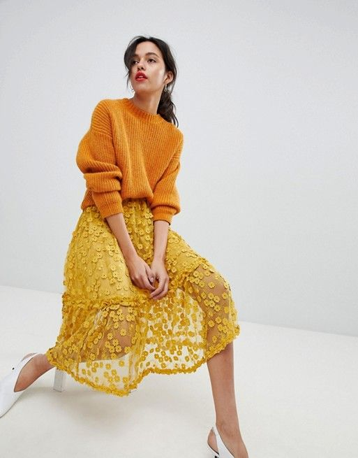 Love this sweater! French Connection Lace Applique Midi Skirt