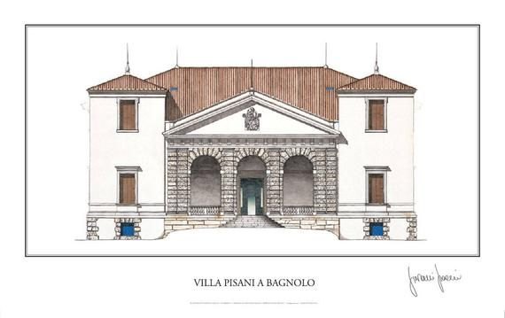 Large Palladio Poster 33x23in Villa Pisani At Bagnolo Signed By