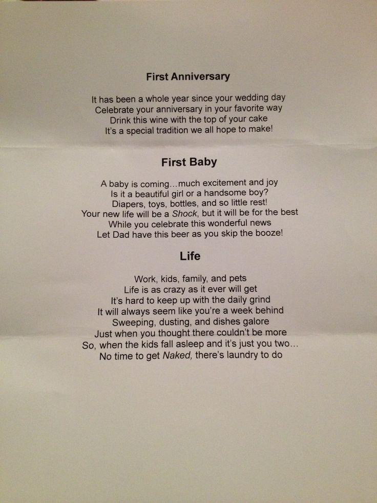 wine wedding shower gift poem%0A Page   of the wine basket bridal shower gift idea