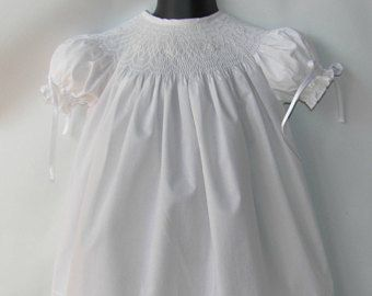 Smocked Dress, White Christening Dress, Baptism smock Dress, Smocked Baby Dress, Flower Girl Dress, White Baby Dress Size 3M,12M,18M